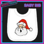 SANTA CLAUS FATHER CHRISTMAS WHITE BABY BIB PRINTED DESIGN - 150908155749